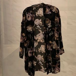 Floral print velvet open cardigan